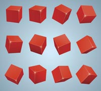 12 red cubes