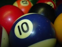 Close up of pool balls, 10 ball in front
